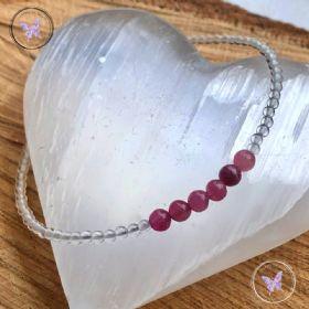 Pink Tourmaline Crystal Quartz Bracelet
